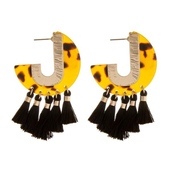"""Resin tortoise shell J hoop tassel earrings.  - Approximately 2"""" in length"""
