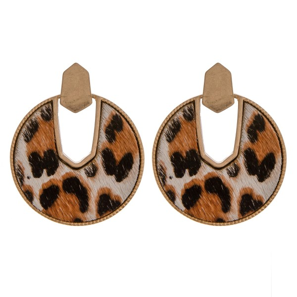 "Cowhide leopard print encased drop disc earrings.  - Approximately 2"" in diameter"