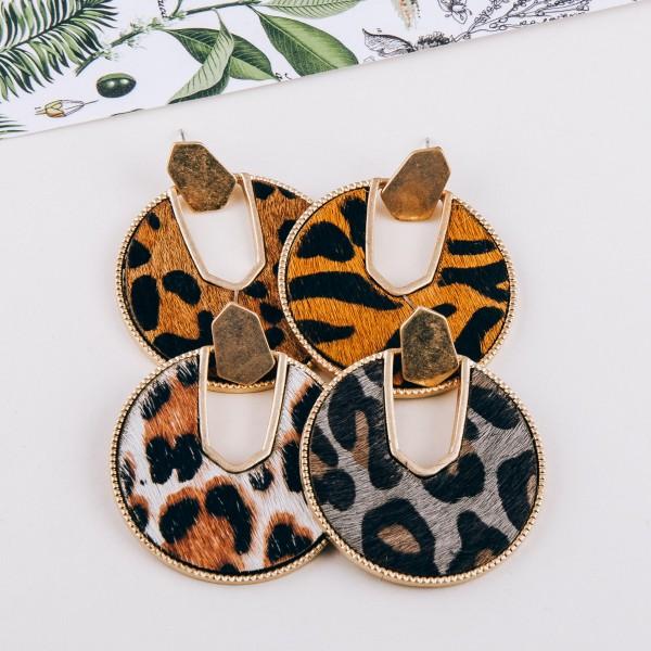 """Cowhide leopard print encased drop disc earrings.  - Approximately 2"""" in diameter"""