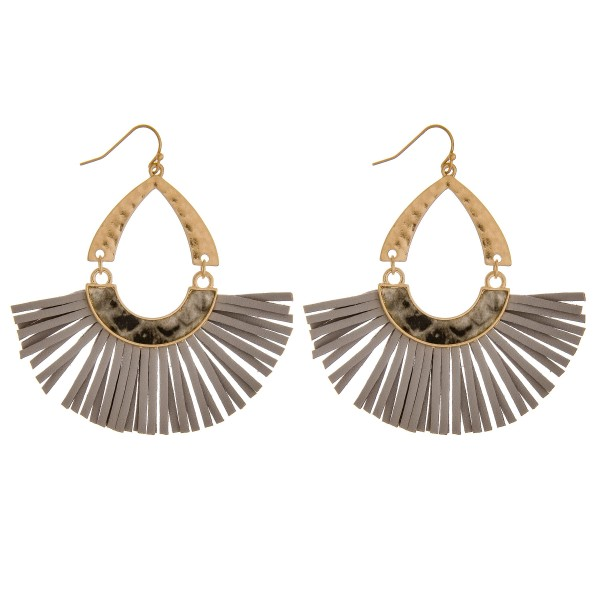 """Hammered hinge teardrop faux leather tassel earrings with snakeskin details.  - Approximately 2.5"""" in length"""