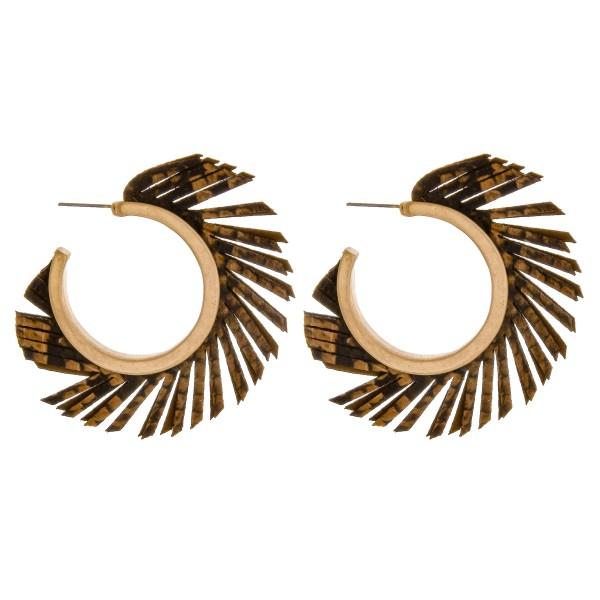 """Faux leather tassel open hoop earrings.  - Approximately 2"""" in diameter"""