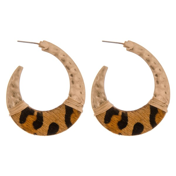 "Cowhide leopard print hammered j-hoop earrings with wire wrapped details.  - Approximately 2"" in length"