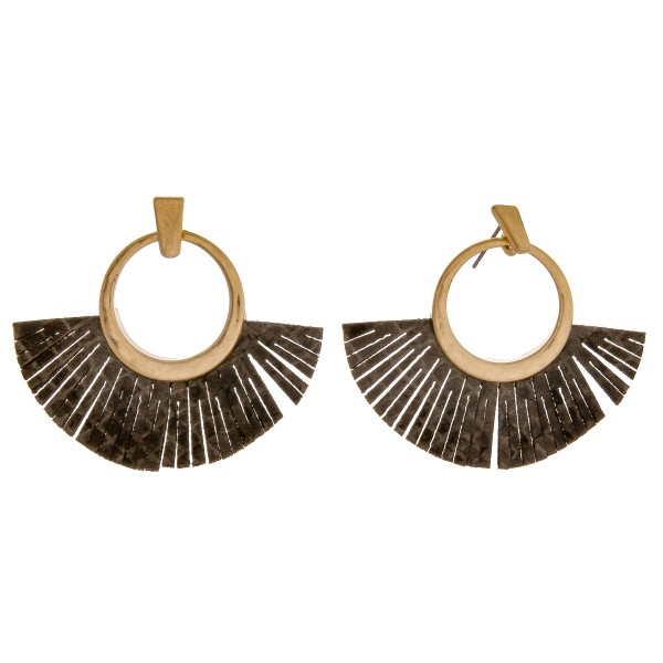 "Open circle faux leather snakeskin tassel earrings.  - Approximately 1.75"" in length"