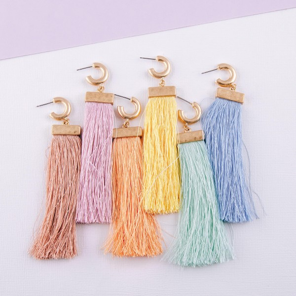"""Fringe tassel huggie open hoop statement earrings.  - Approximately 4"""" in length"""