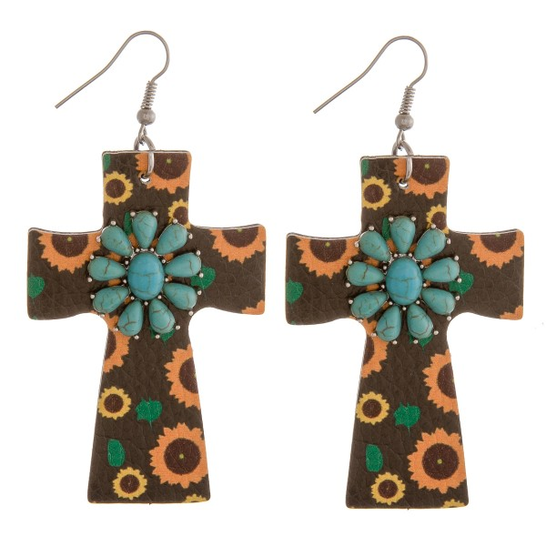 """Faux leather sunflower natural stone cross earrings.  - Approximately 3"""" in length"""