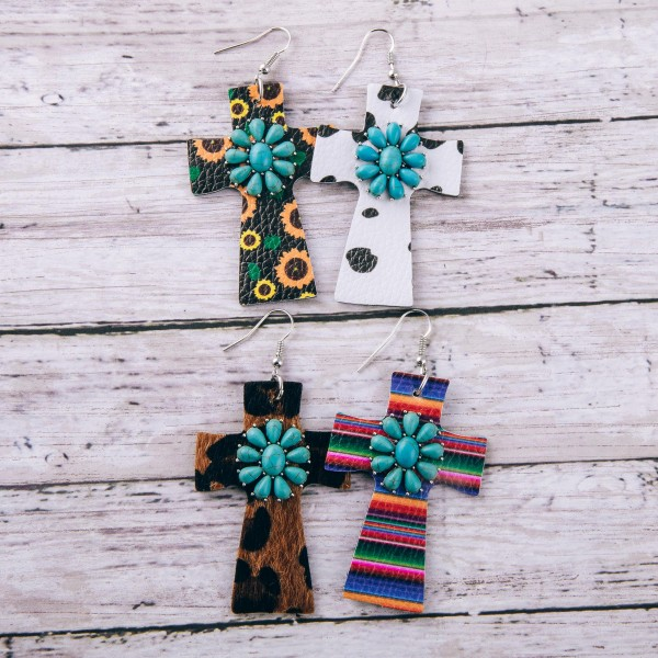"""Faux leather cow print natural stone cross earrings.  - Approximately 3"""" in length"""