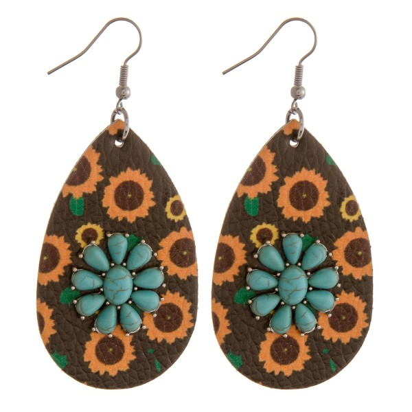 """Faux leather sunflower natural stone teardrop earrings.  - Approximately 2.75"""" in length"""