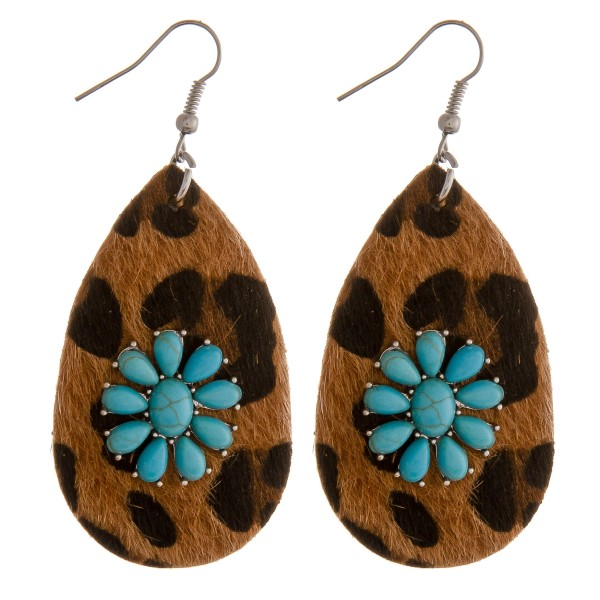 """Faux leather leopard print natural stone teardrop earrings.  - Approximately 2.75"""" in length"""