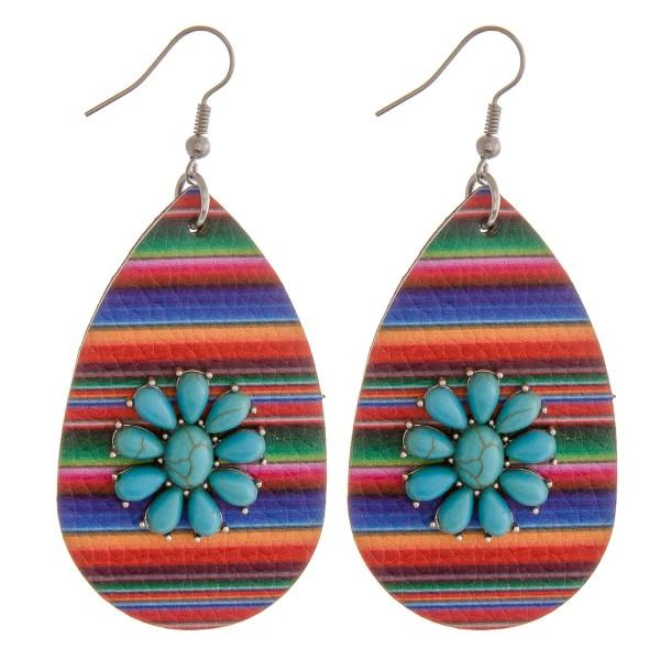 "Faux leather serape natural stone teardrop earrings.  - Approximately 2.75"" in length"