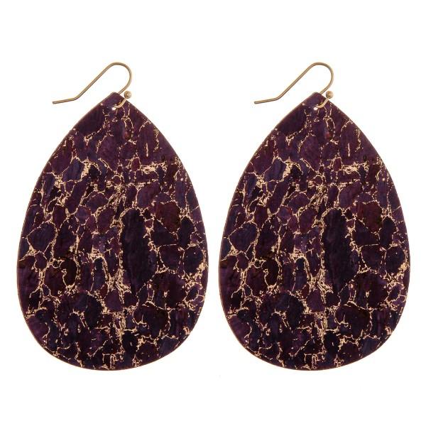 """Thin metallic marble cork teardrop earrings.  - Approximately 3"""" in length"""