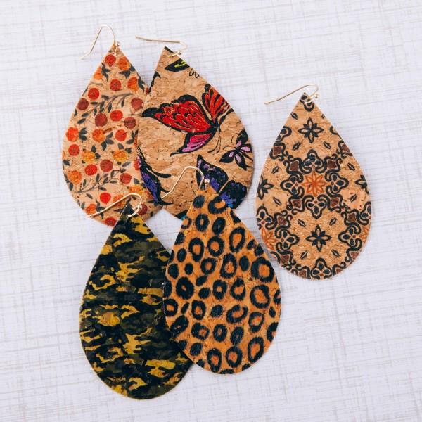 "Thin camouflage cork teardrop earrings.  - Approximately 3"" in length"
