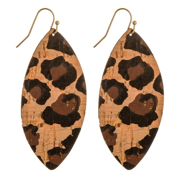 "Thin leopard print cork pointed oval drop earrings.  - Approximately 2.75"" in length"