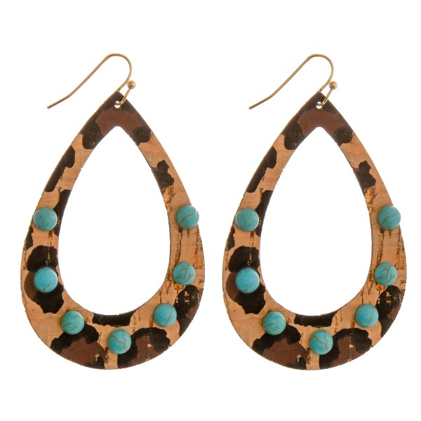 """Thin leopard print open teardrop cork earrings with turquoise natural stone details.  - Approximately 3"""" in length"""