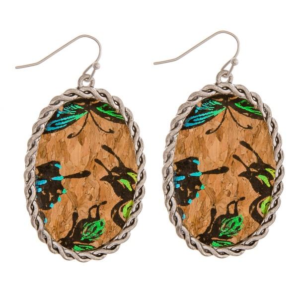 """Cork encased metallic butterfly drop earrings.  - Approximately 2"""" in length"""