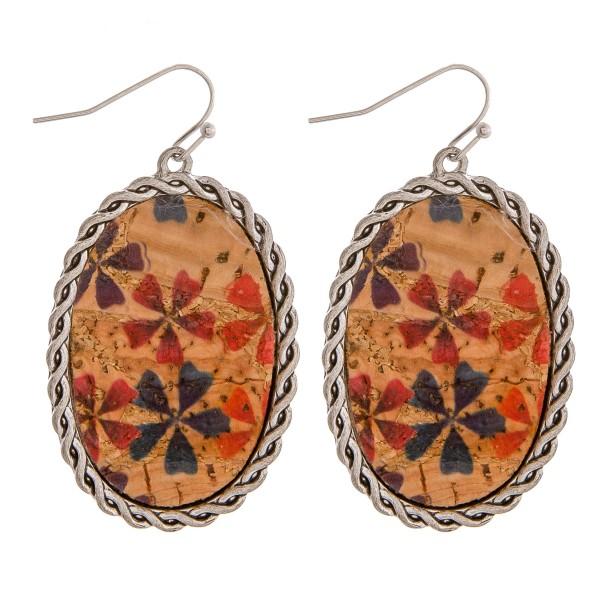 "Cork encased flower drop earrings.  - Approximately 2"" in length"