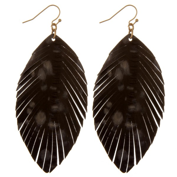"Faux leather water-spot feather drop earrings.  - Approximately 3.5"" L"