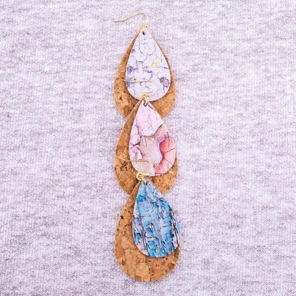 """Faux cork marble print teardrop earrings.  - Approximately 3"""" L"""