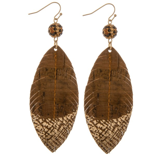 """Leopard print rhinestone cork feather drop earrings with gold metallic accents.  - Approximately 4"""" L"""