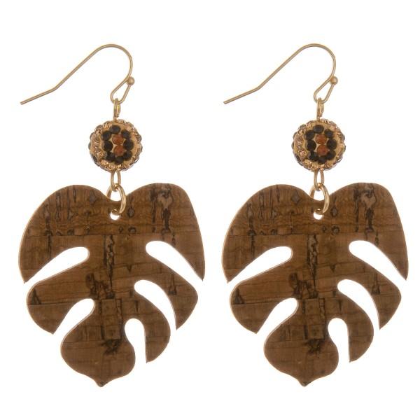 """Leopard print rhinestone cork palm leaf drop earrings.  - Approximately 2.5"""" L"""
