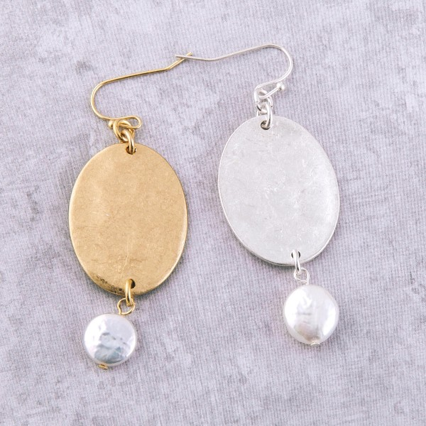 "Hammered oval pearl drop earrings.  - Approximately 2.5"" L"