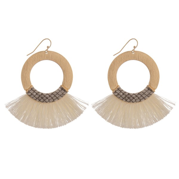 """Fringe tassel snakeskin bohemian earrings.  - Approximately 2.75"""" in length"""