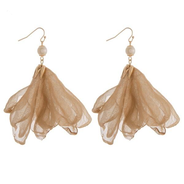 "Sheer pearl drop earrings.  - Approximately 3"" in length"