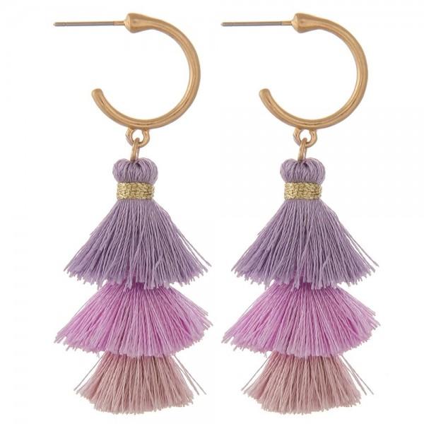 """Fan tassel drop hoop earrings.  - Approximately 2.5"""" in length"""