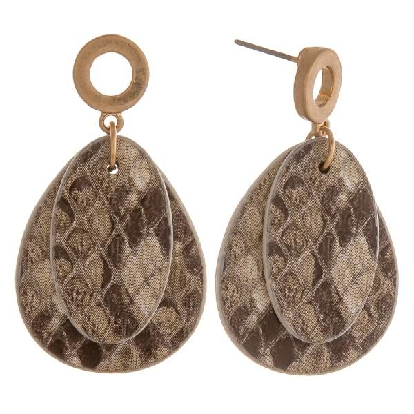 """Double faux leather snakeskin teardrop earrings.  - Approximately 1.5"""" in length"""