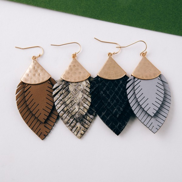 """Doubled faux leather snakeskin feather earrings.  - Approximately 2.5"""" in length"""