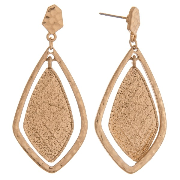 "Hammered textured nested oblong teardrop earrings.  - Approximately 2"" in length"