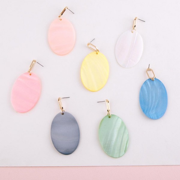 """Genuine shell oval statement drop earrings.  - Approximately 2.75"""" in length"""
