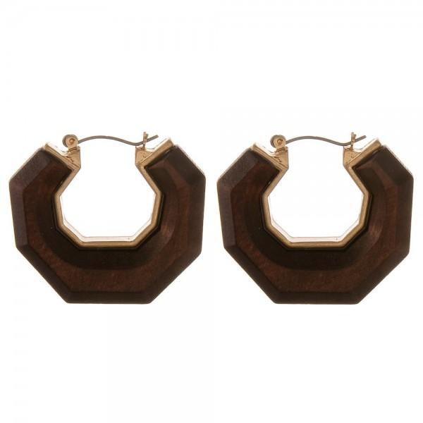 "Raised wood octagon pin catch hoop earrings.  - Approximately 1.5"" in diameter"