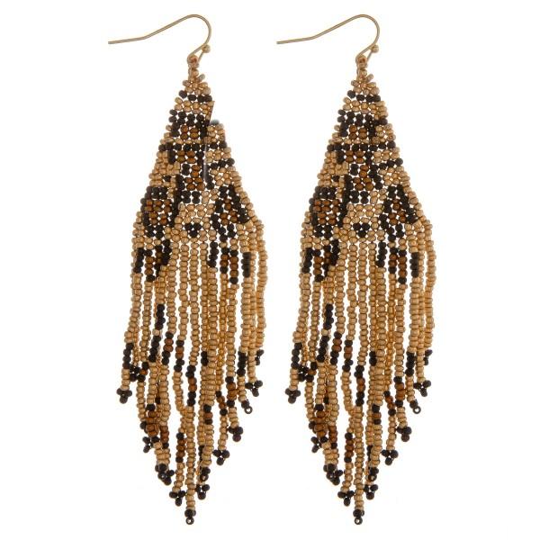 "Leopard print beaded fringe tassel bohemian earrings.  - Approximately 4"" in length"