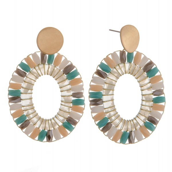 "Beaded resin woven oval drop earrings.  - Approximately 2.75"" in length"