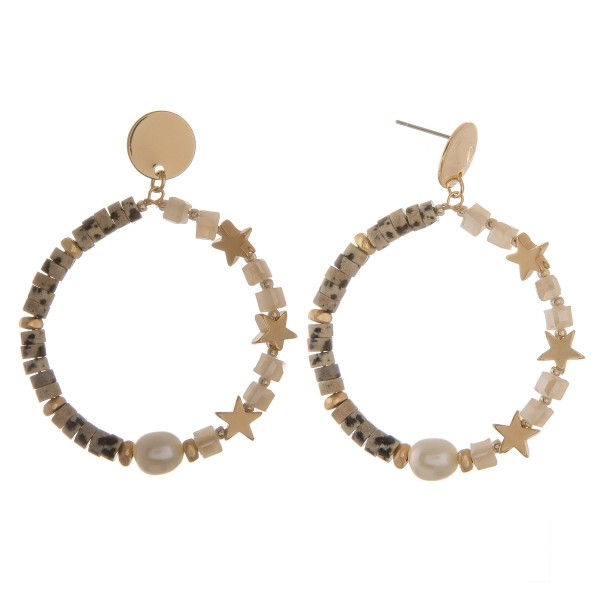 """Half star semi precious beaded drop earrings with pearl accent.  - Approximately 2.25"""" L - Approximately 2"""" in diameter"""
