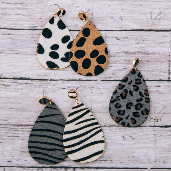 "Cowhide genuine leather zebra print teardrop earrings.  - Approximately 2.5"" in length"