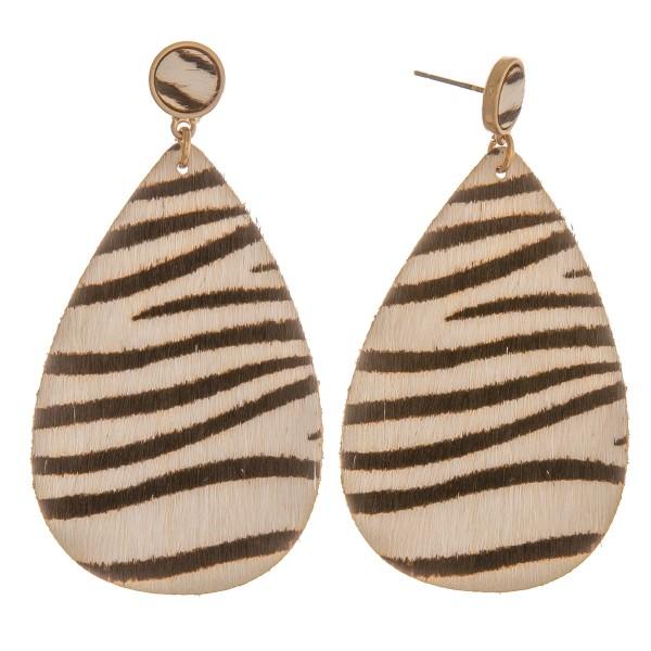 """Genuine leather zebra print cowhide teardrop earrings.  - Approximately 2.5"""" L"""