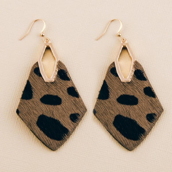 """Genuine leather cow print cowhide diamond cut out drop earrings.  - Approximately 2.5"""" L"""