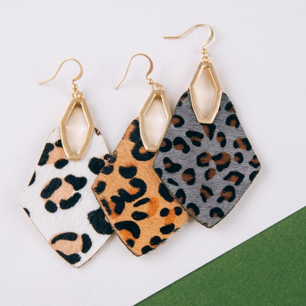 "Cowhide genuine leather leopard print diamond cut out earrings.   - Approximately 3"" in length"