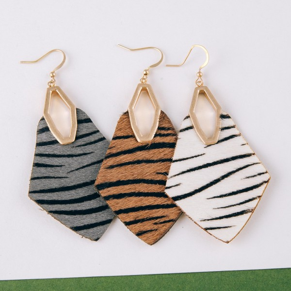 "Cowhide genuine leather zebra print diamond cut out earrings.   - Approximately 3"" in length"