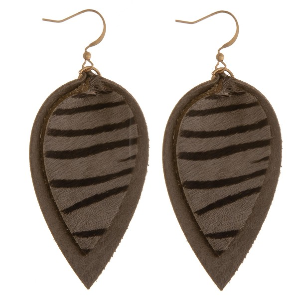 """Cowhide genuine leather layered zebra print earrings.  - Approximately 2.5"""" in length"""