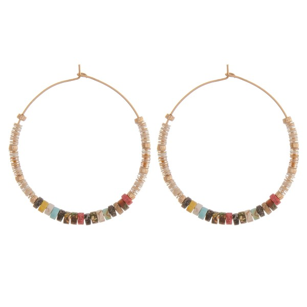 """Dainty spacer beaded wire hook hoop earrings with natural stone inspired details.  - Approximately 2"""" in diameter"""