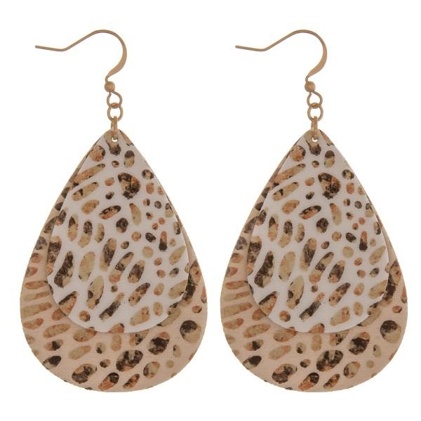 "Faux leather animal print teardrop earrings.  - Approximately 2.75"" in length"