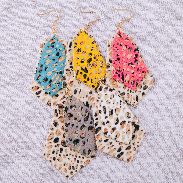 """Faux leather animal print abstract earrings.  - Approximately 3"""" in length"""
