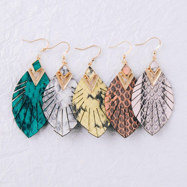 """Genuine leather animal print feather bohemian earrings.  - Approximately 2.5"""" in length"""
