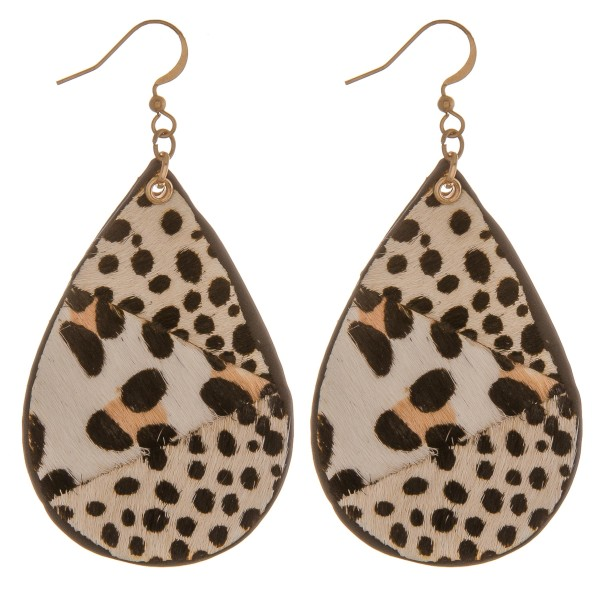 """Genuine leather double sided multi animal print teardrop earrings.  - Approximately 2.75"""" in length"""