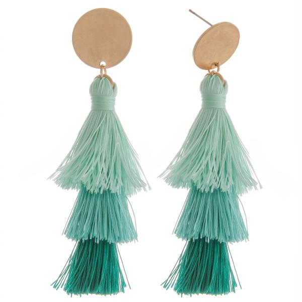 """Fan tassel drop earrings.  - Approximately 3"""" in length"""