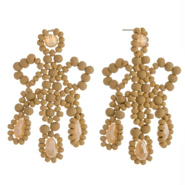 "Wood beaded rhinestone statement dangle earrings.  - Approximately 3"" in length"