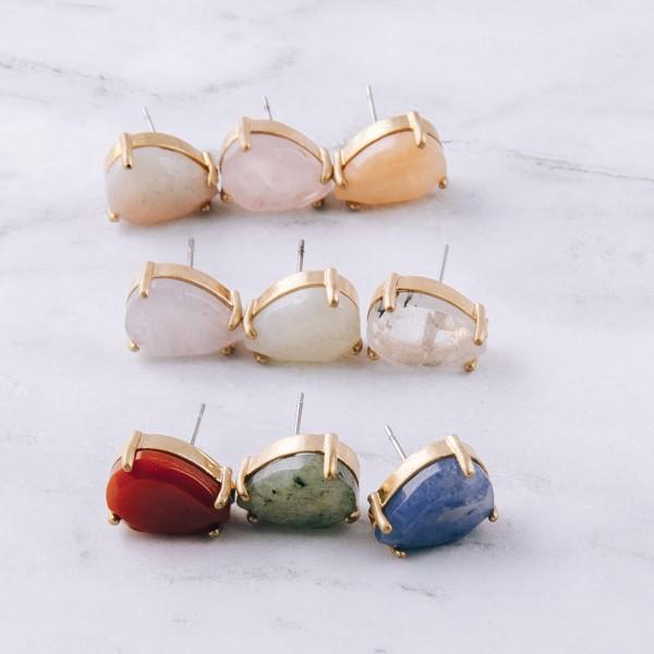 """Semi precious teardrop stud earrings.  - Approximately .5"""" in size"""