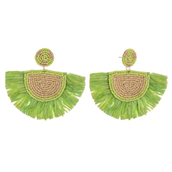 "Seed beaded raffia tassel statement earrings.  - Approximately 2.5"" in length and 3.5"" in width"